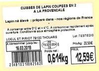 Cuisses de lapin coupées en 2 à la provençale - Ingredients