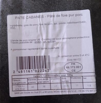 PATE CABANES - Nutrition facts - fr