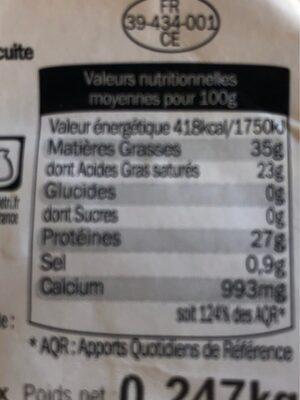 Comté Juraflore Fort des Rousses - Nutrition facts - fr