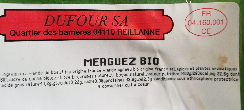 Merguez Bio - Ingrédients - fr