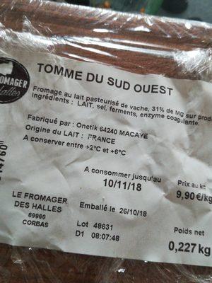 Tomme du sud ouest - Ingrédients - fr