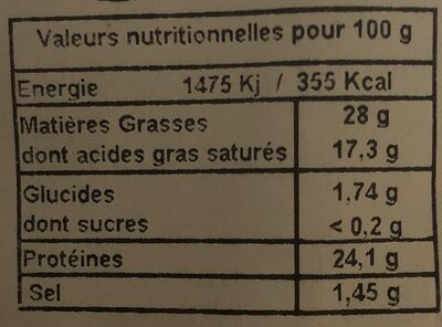 Tomme de savoie IGP fruitée - Valori nutrizionali - fr