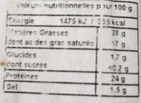 Tomme de savoie igp fruitee - Valori nutrizionali - fr