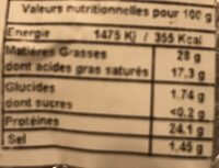 Tomme de savoie IGO - Valori nutrizionali - fr