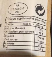 Morbier AOP 70 jours lait cru - Informations nutritionnelles