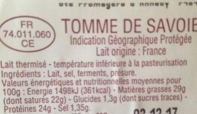 Tomme de Savoie AOP - Ingredients