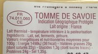 Tomme de Savoie AOP - Nutrition facts - fr