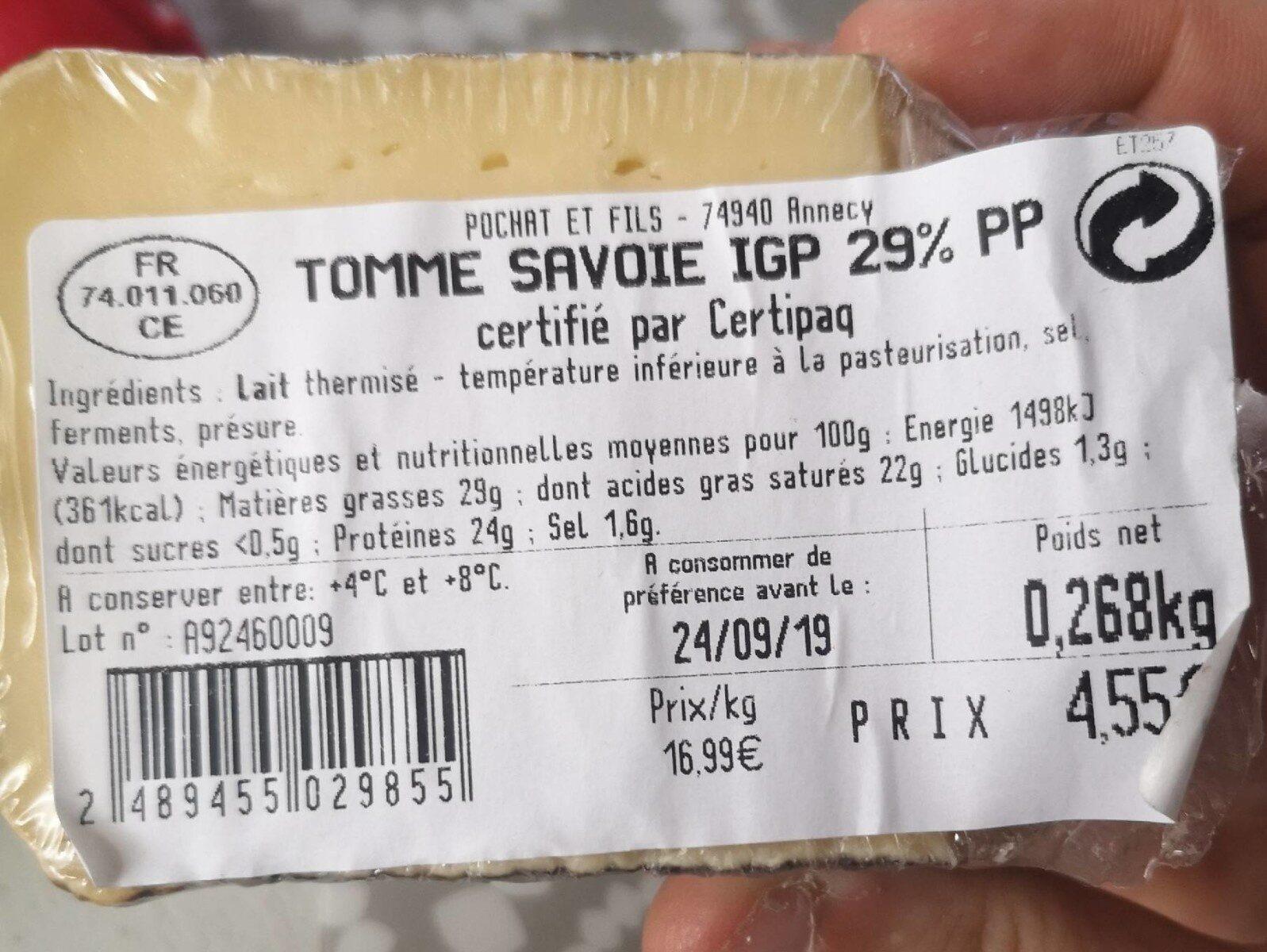 Tomme de savoie igp 29%pp - Product - fr
