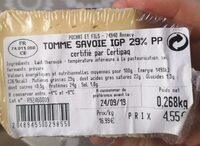 Tomme de savoie igp 29%pp - Nutrition facts - fr