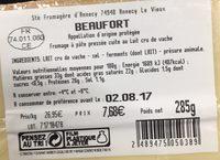 Beaufort au lait cru - Ingredients - fr