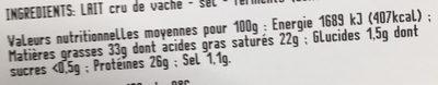 Beaufort au lait cru - Nutrition facts - fr