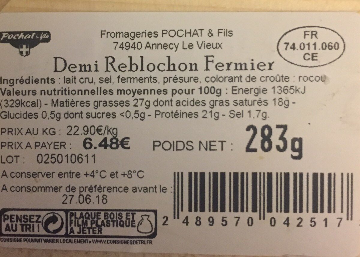 Reblochon de savoie - Ingredients - fr