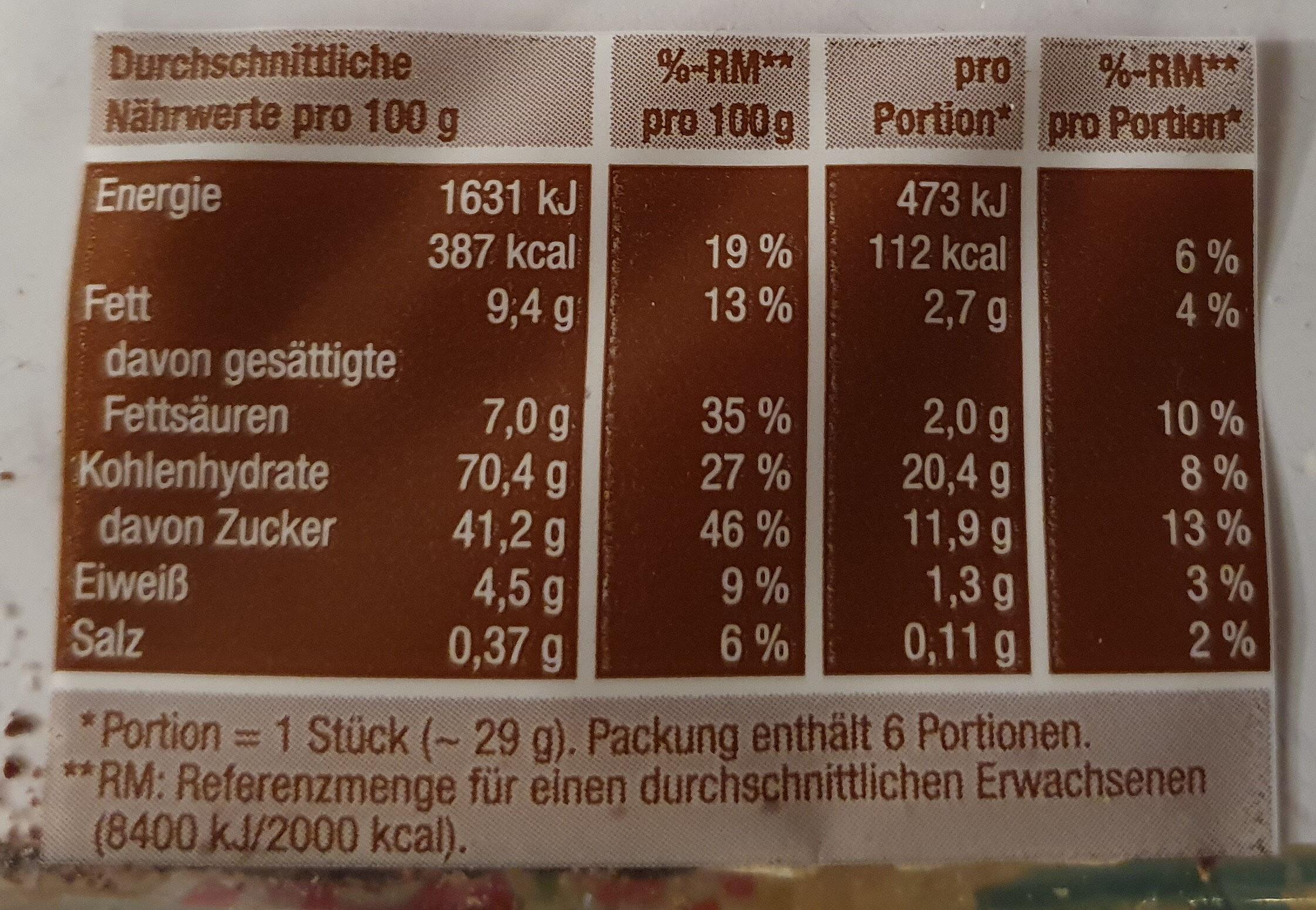 Schaum-Waffeln - Informations nutritionnelles - de