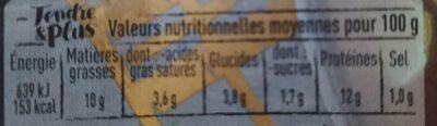 Langue de boeuf sauce piquante aux cornichons - Nutrition facts - fr