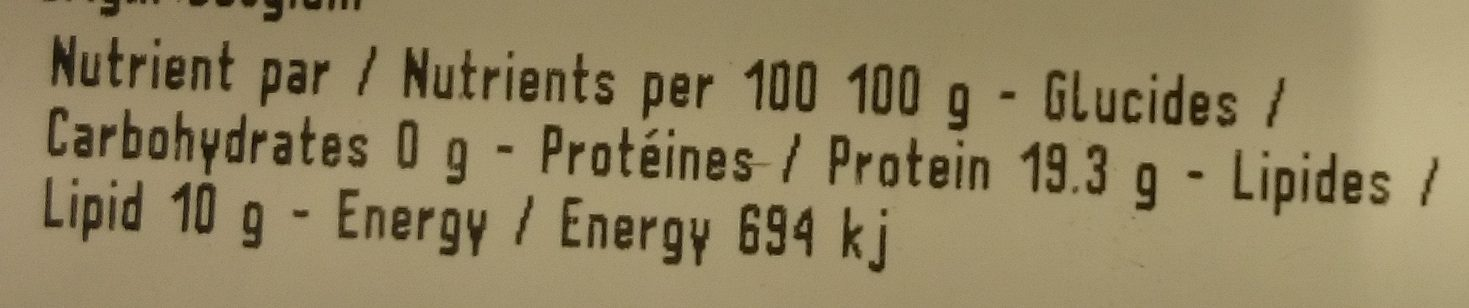 Poulet entier - Informations nutritionnelles - fr