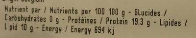 Filets de Poulet - Informations nutritionnelles - fr