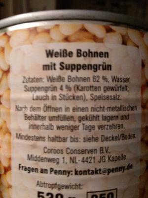Weiße Bohnen - Inhaltsstoffe