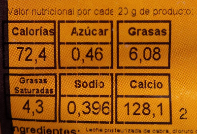 Queso artesano de Cabra Garrotxa - Nutrition facts - es