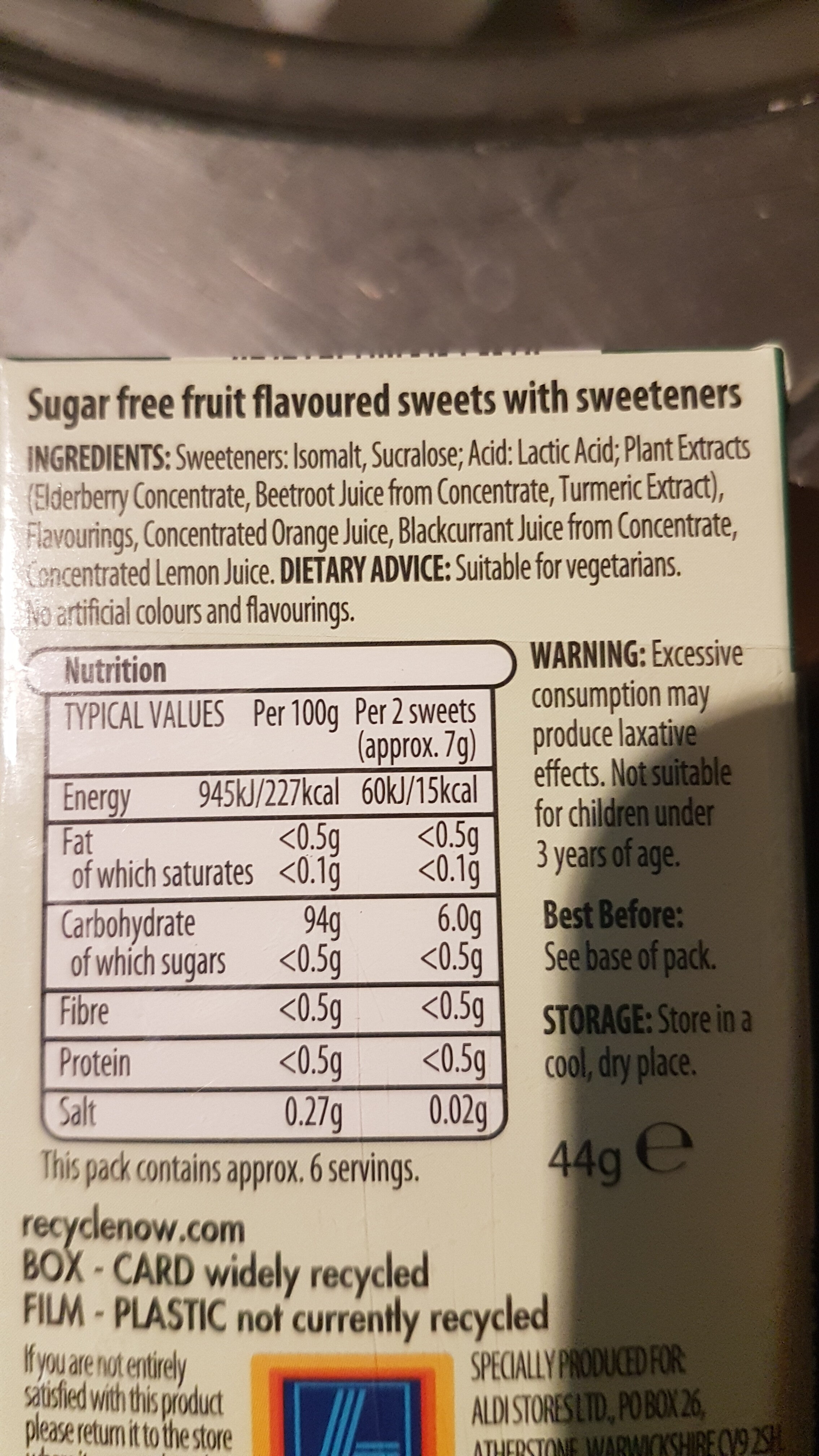Clear fruits - Ingredients