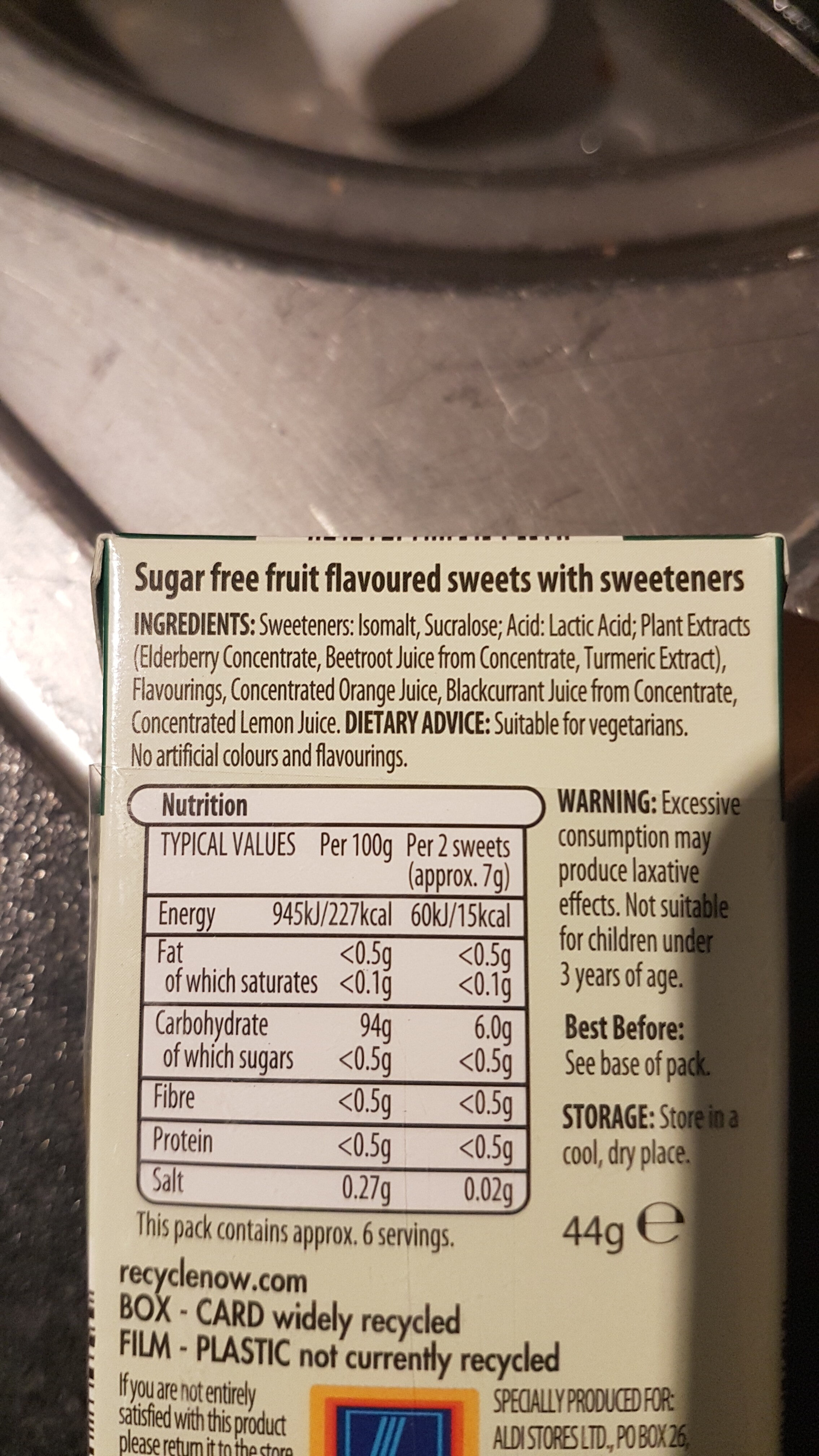 Clear fruits - Nutrition facts