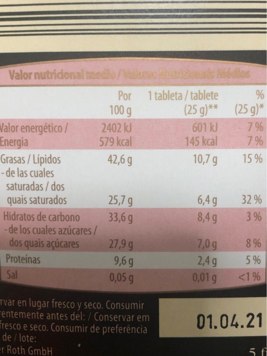 Chocolate negro 85% cacao - Nutrition facts - es