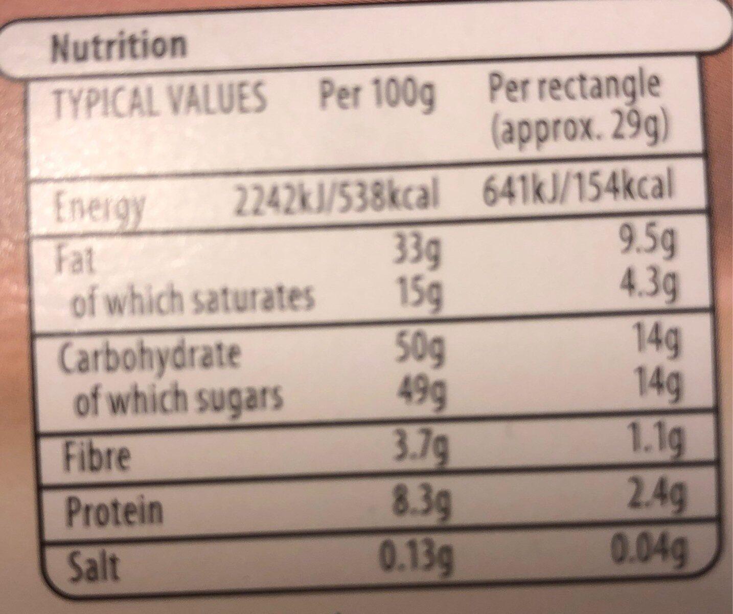 Choceur - Informations nutritionnelles - en