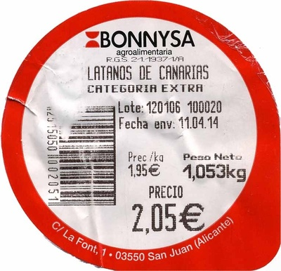 Plátanos de Canarias - Ingredients - es
