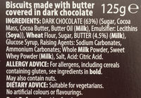 Chocolate butter biscuits - Ingredients
