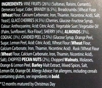 12 months Matured Luxury Christmas Pudding - Ingredients