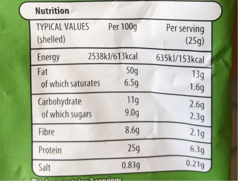 Salted pistachios - Informations nutritionnelles - en