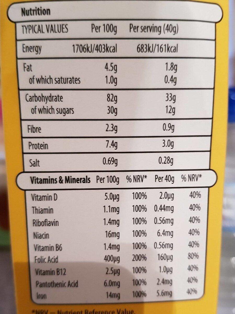 Honey nut crunchy corn flakes - Nutrition facts