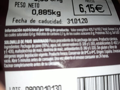 pechuga de pavo - Ingredients - es