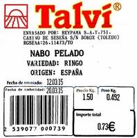 Nabos blancos pelados - Ingredientes