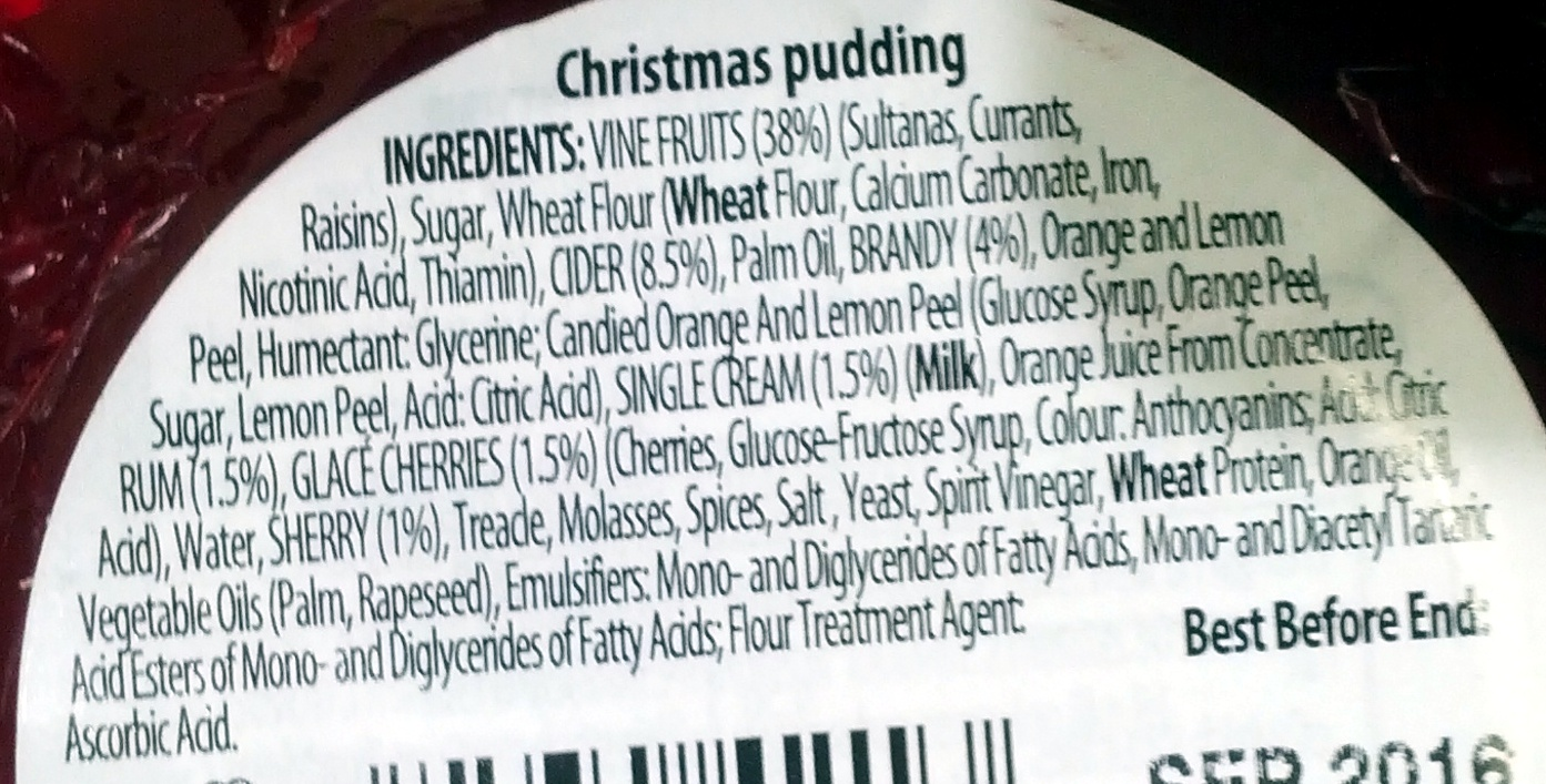 Connoisseur Christmas Pudding - Ingredients