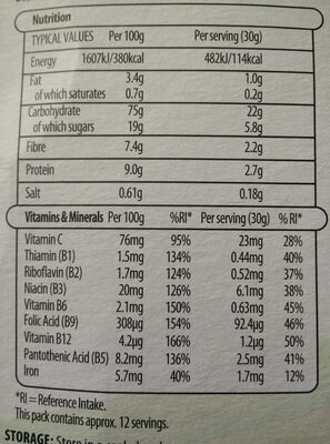 Multi grain hoops - Nutrition facts