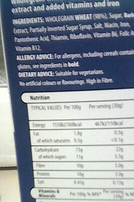 Malted Wheaties - Ingredients