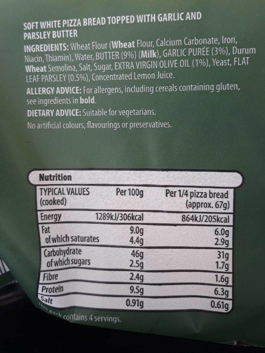 Garlic Pizza Bread - Informations nutritionnelles - fr