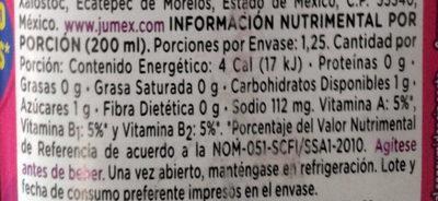 Pau Pau de uva - Voedingswaarden