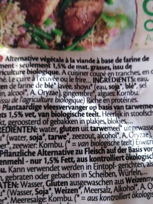Seitan Gourmet Original - Ingrediënten - fr