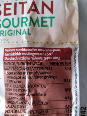 Seitan Gourmet Original - Voedingswaarden - fr