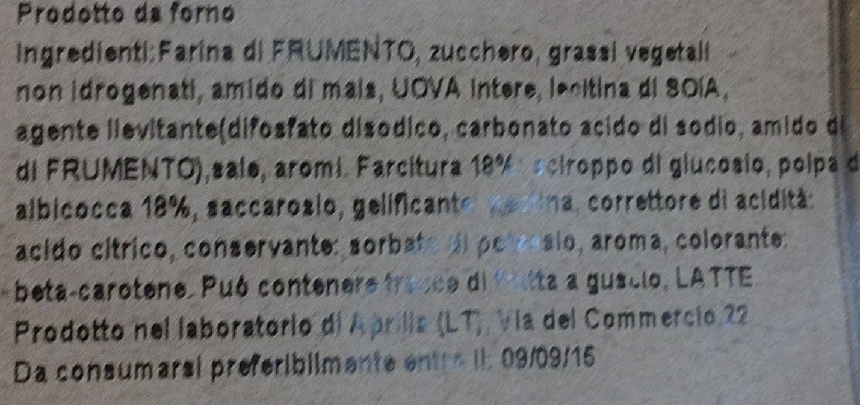 FARFALLE ALBICOCCA PRODOTTO DA FORNO - Ingrédients
