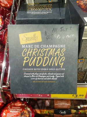 Marc de champagne christmas pudding finished with edible gold glitter - 3
