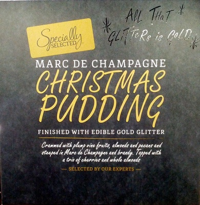 Marc de champagne christmas pudding finished with edible gold glitter - Product - en