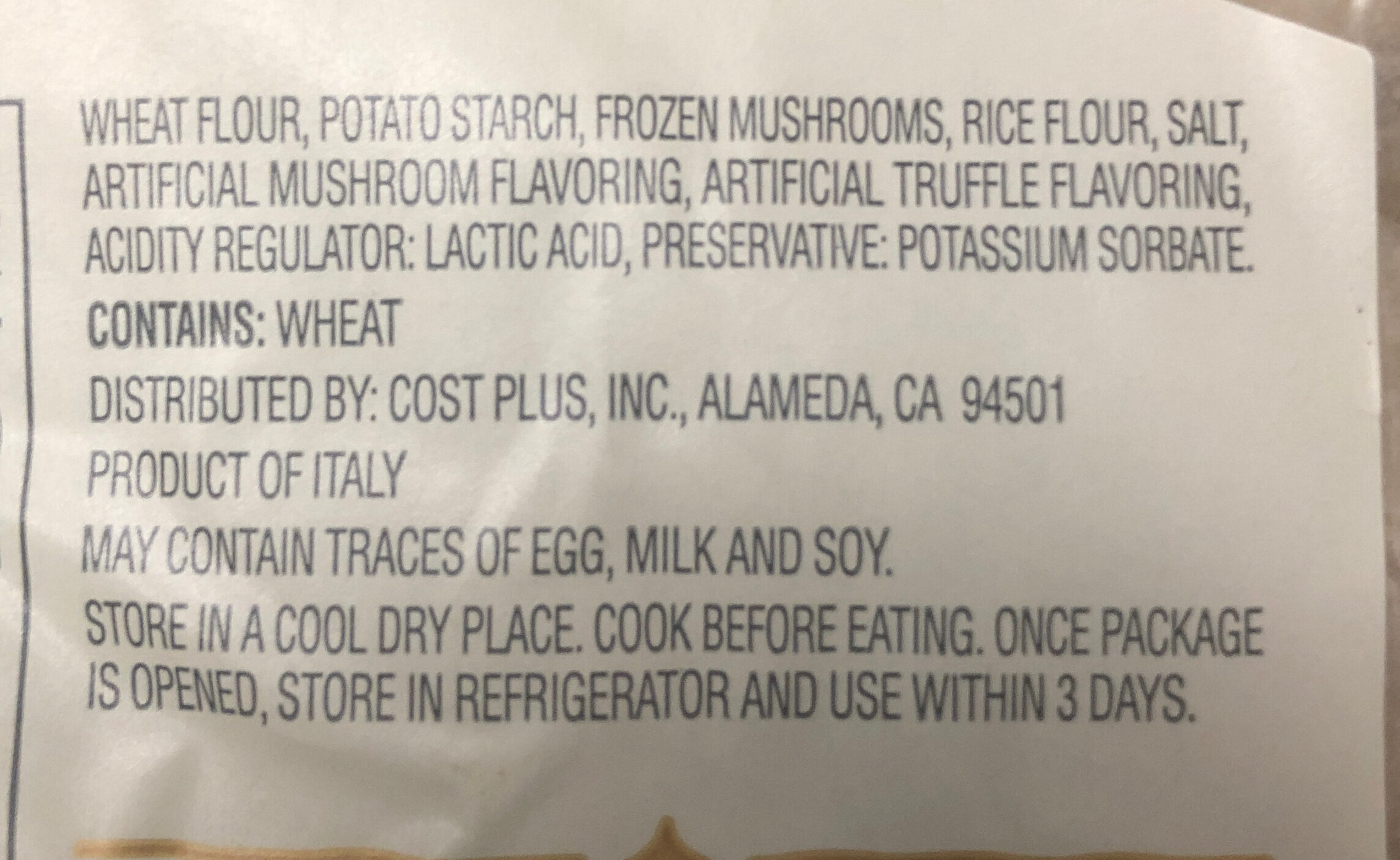 Gnocchi porcini & truffle - Ingredients