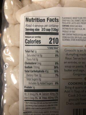 Gnocchi pecorino cheese - Nutrition facts