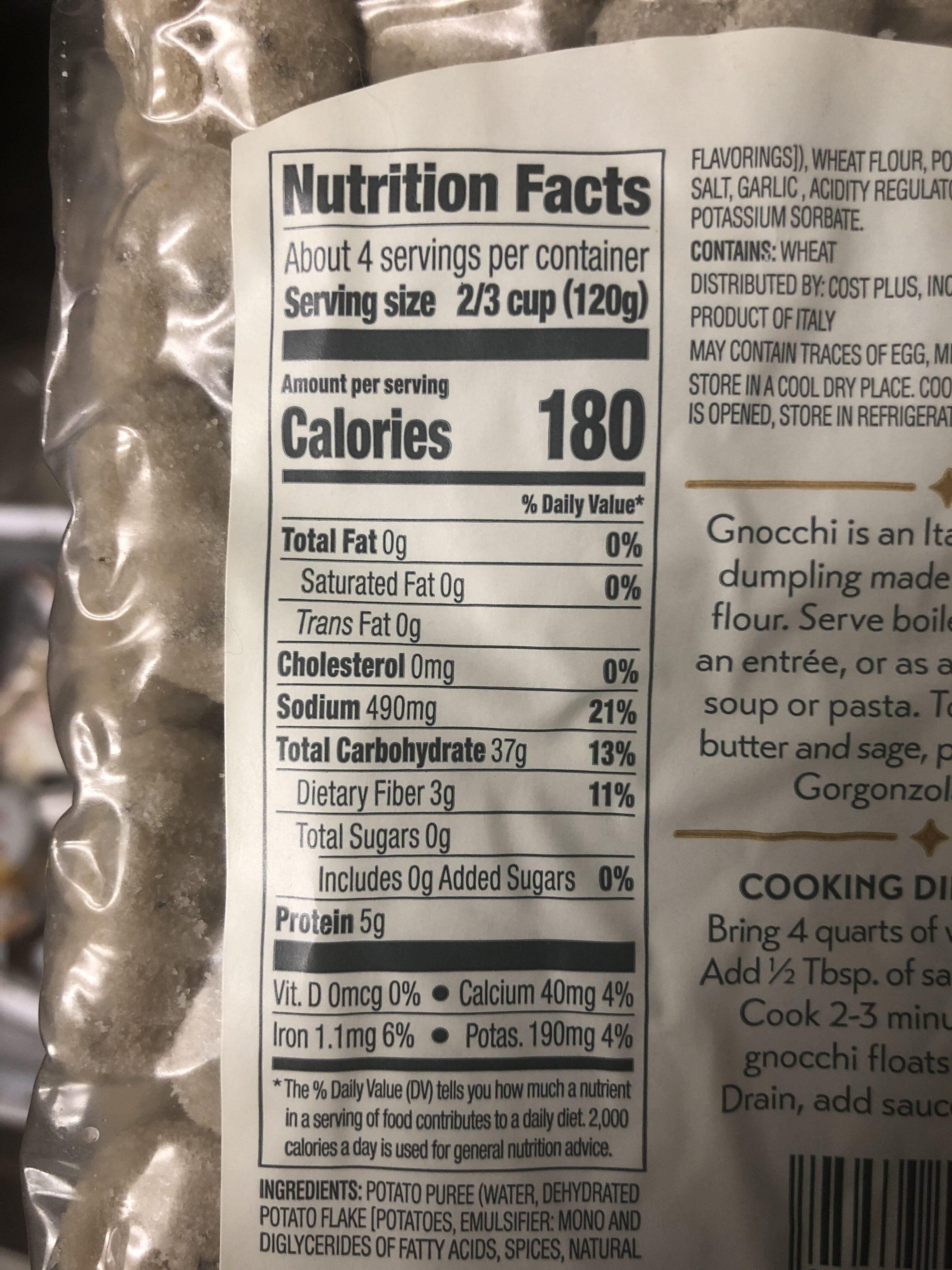 Gnocchi pesto - Nutrition facts