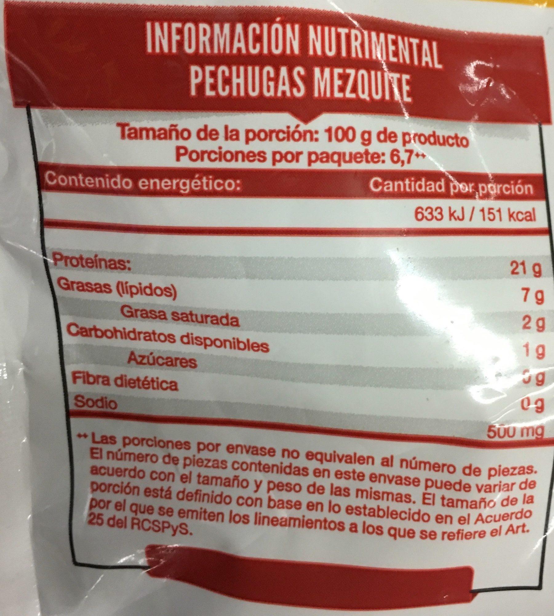 Pechugas Mezquite Tyson - Voedingswaarden - es