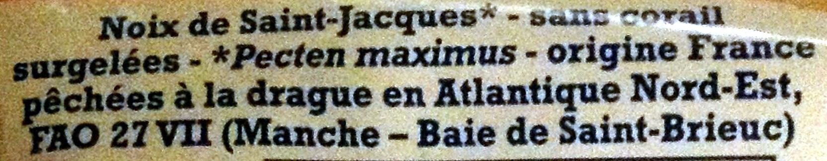 Noix de Saint-Jacques de la Baie de Saint-Brieuc, sans corail, Surgelées - Ingredients - fr