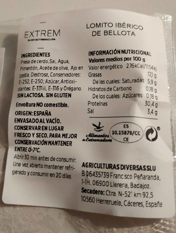Lomito ibérico de bellota - Información nutricional - es