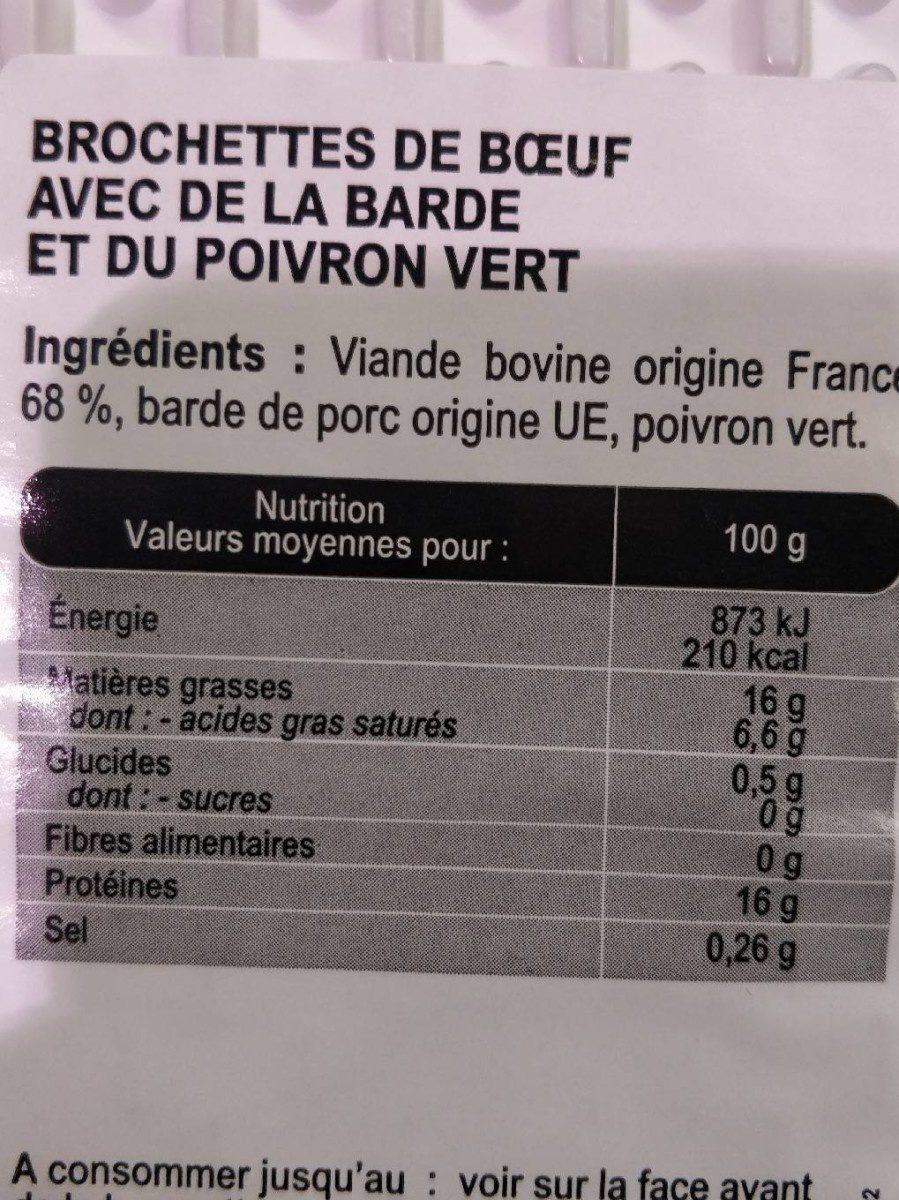 7 brochettes de bœuf - Informations nutritionnelles - fr